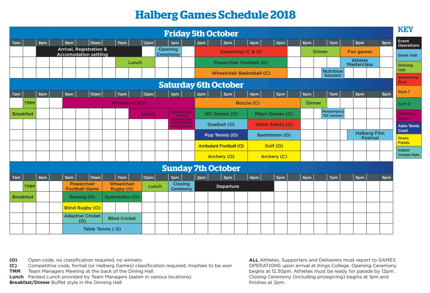 Halberg Games Schedule Oct2018
